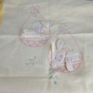 Vintage Yellow Baby Blanket Bunny Rabbit Easter Egg Embroidery Fleece Girl 50s