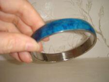 Women's Vintage Silver Tone Metal Blue Enamel Bangle Bracelet