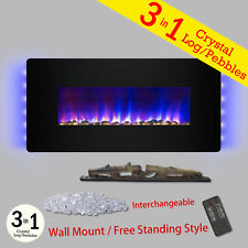 "3-in-1 48"" Electric Fireplace Black Wall Mount Freestanding Convertible Heater"