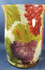 Grapes on the Vine Hand finished Glass Hurricane Candle Holder Home Decor