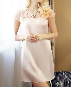 100% mulberry silk slip dress with beautiful lace butterfly pattern