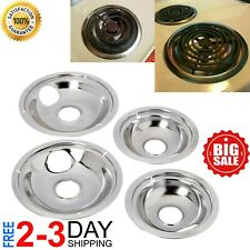 4 Ge Hotpoint Chrome Stove Drip Pans Electric Burner Covers Top Replacement Set