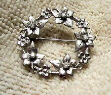 Fine Floral Circle Brooch Pin Pendant w/ Diamonds 14K White Gold