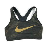 Nike Dri-Fit Womens Sports Bra Size M Black Gold Racerback Swoosh Logo Stretch