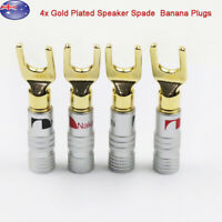 4 pcs Gold Plated Screw Spade Banana Plugs Audio Adapter 4mm Speaker Wire Cable
