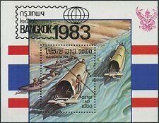"1983 LAOS Bloc N°76 ** Bf ""Bangkok 1983"" bateau, TB, boat Sheet Sc# 480 MNH"