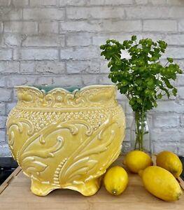 Yellow Majolica Art Nouveau Ludwig Wessel Bonn Jardiniere Cache Pot - Large 1009