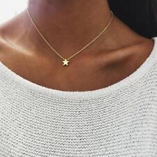 FASHION colore oro pendente a stella a Catena Corta Collana Girocollo a strati donne regalo