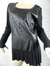 CHARLIE BROWN black faux leather PVC long sleeve tunic dress size 14 NWOT