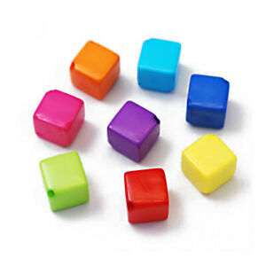 Mixed-Colour Acrylic Beads Cube 8mm Pack Of 40+