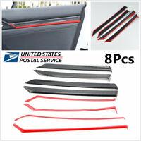 US 8Pcs Carbon Fiber Style ABS Door Trim Decals Cover For Honda Civic 10th 16-17