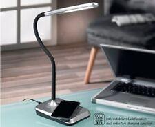 LED Tischlampe 5 Watt 580 Lumen +induktivem Handy Lader schwarz/silbern .#7580