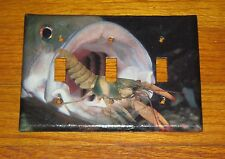 Large Trophy Bass Ready To Eat Crayfish Crawfish 3 Hole Light Switch Cover Plate