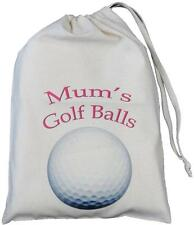 MUM'S GOLF BALLS - SMALL NATURAL COTTON DRAWSTRING BAG
