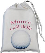 MUM'S GOLF BALLS - SMALL NATURAL COTTON DRAWSTRING BAG