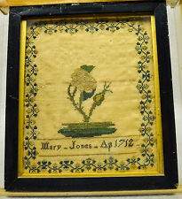 "Very Early Antique American Sampler ""Mary Jones"" Rose Bud Design dated 1712"