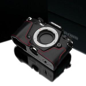GARIZ Leather Half Case Olympus E-M5II EM5ii XS-CHEM5IIBKR Black Red Stitching