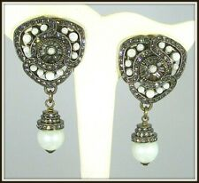 HEIDI DAUS FAUX PEARL CRYSTAL DROP EARRINGS - CLIP-ON