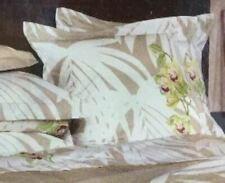 Yves Delorme 2 Euro Shams Pillowcases Orchids Floral White Beige Purple Mata New