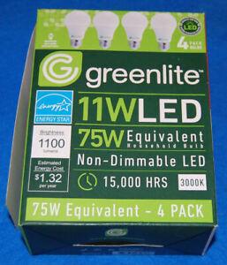 Lot of 4 Greenlite 11 Watt (75 Watt Equivalent) A19 LED Light Bulbs, New