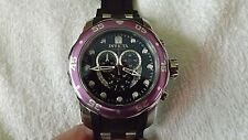 Invicta Pro Diver 19649 Scuba Chrono Black Dial, Purple Bezel, Blk Strap Watch