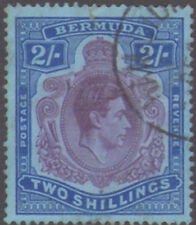 Bermuda-George 6th 2/- with GASH IN CHIN VARIETY SG 116df fine used-minor faults