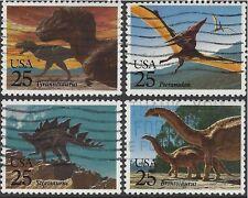 USA 1989 PREHISTORIC ANIMALS (Dinosaurs) (4) Used SG2407-10