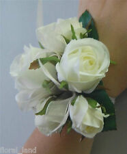 SILK WEDDING WRIST CORSAGE ARTIFICIAL FAKE FLOWER WHITE CREAM ROSE ROSES