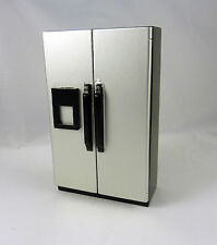 Dollhouse Miniature Stainless Silver Side by Side Refrigerator, T5454