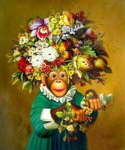 ZWPT916  100% painted hand monkey &Various flowers oil painting art on Canvas