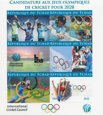 More details for chad 2021 mnh olympics stamps cricket bid summer games 2028 sports 6v impf m/s