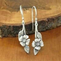 Luxury 925 Silver Flower Earrings Ear Hook Dangle Drop Wedding Party Jewelry