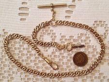 Victorian / Civil War Reenactor Brass Pocket Watch Chain w/ Key Fob