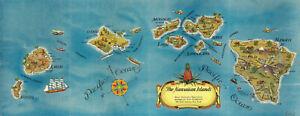 "1935 Pictorial Map of the Hawaiian Islands 6""x16"" Hawaii Wall Art Poster Print"