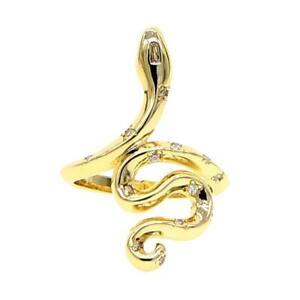 """Damen Ring Schlange """"Ultra Snake"""" Zirkonia 18K Gold vergoldet DJADEE R5582DL"""