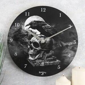 Alchemy Poe's Raven Clock Gothic Clock Scull Wall Clock Scull Clock