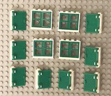 Lego X4 White Window Frame 1x4x3 With Green Shutter 1x2x3 And Green Window Pane