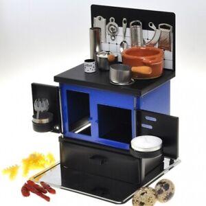 Miniature Stove cook Real Miniature Mini Food CookwareTiny Kitchen Blue Toy