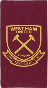 West Ham United F.C Football Team 100% Cotton Beach Towels Hammers Club Crest