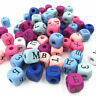100pcs Mixed Wood Spacer Beads Russian Alphabet Cube DIY jewelry Making 10mm