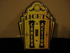 METAL CINEMA LIGHTS ACTION LIGHT SWITCH COVER PLATE movies yellow black reels