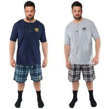 Pijamas y batas de hombre de manga corta azul de 100% algodón
