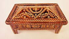 1976 Vintage Retro Metal Jewelry box, rectangular enamel box, red velvet incide