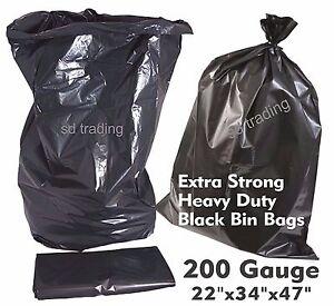 100 Extra Strong Heavy Duty Compactor Sacks 200G Black Bin Refuse Bags Rubble