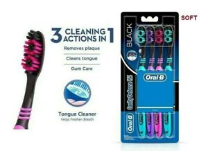Oral-B CAVITY DEFENCE 123 BLACK TOOTHBRUSH (SOFT) -4 PC PACK | Gently Clean