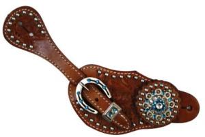 Showman Ladies Leather Spur Straps w/ Acorn Tooling & Blue Crystal Rhinestones