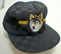 PROWL PURSUIT Embroidered Wolf Black VTG Farmer Trucker Snapback Hat Cap