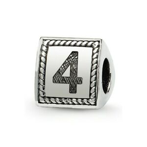 Number 4 Triangle Block Bead .925 Sterling Silver Antiqued Reflection Beads