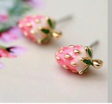 Betsey Johnson STRAWBERRY FESTIVAL Pink Crystal Gold Earrings Adorable