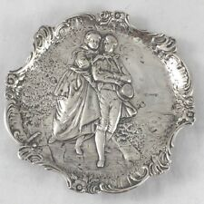 """German 800 Sterling Figural Country Scene Footed Tray 5"""" x 5"""""""